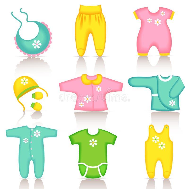 Iconos de la ropa del bebé stock de ilustración