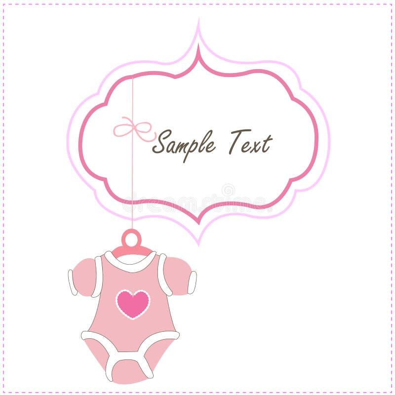 Iconos de la ropa del bebé del bebé de la ejecución de la muchacha de la tarjeta del bebé libre illustration