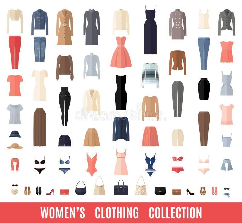 Iconos de la ropa de las mujeres fijados en estilo plano libre illustration