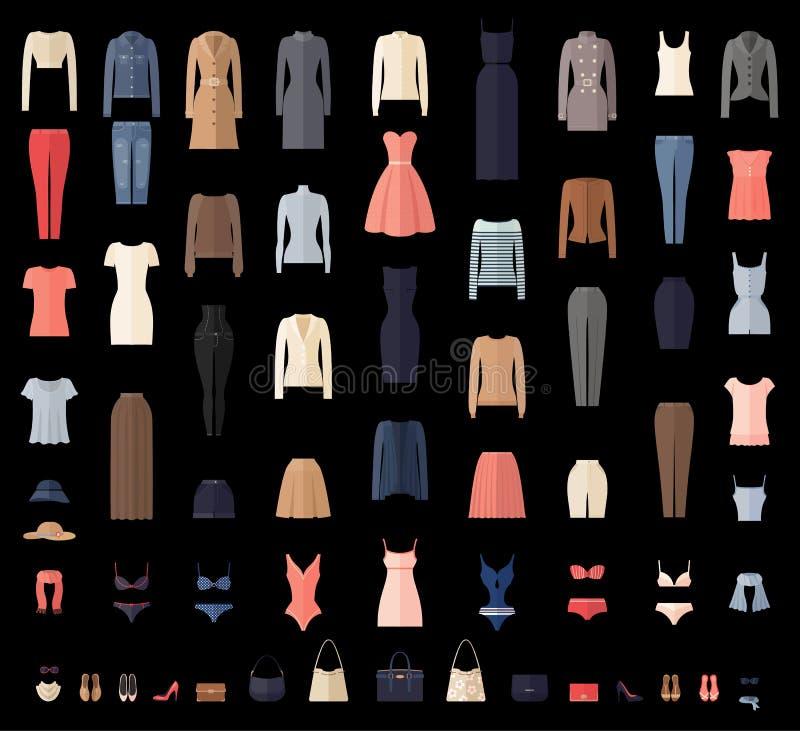 Iconos de la ropa de las mujeres fijados en estilo plano stock de ilustración