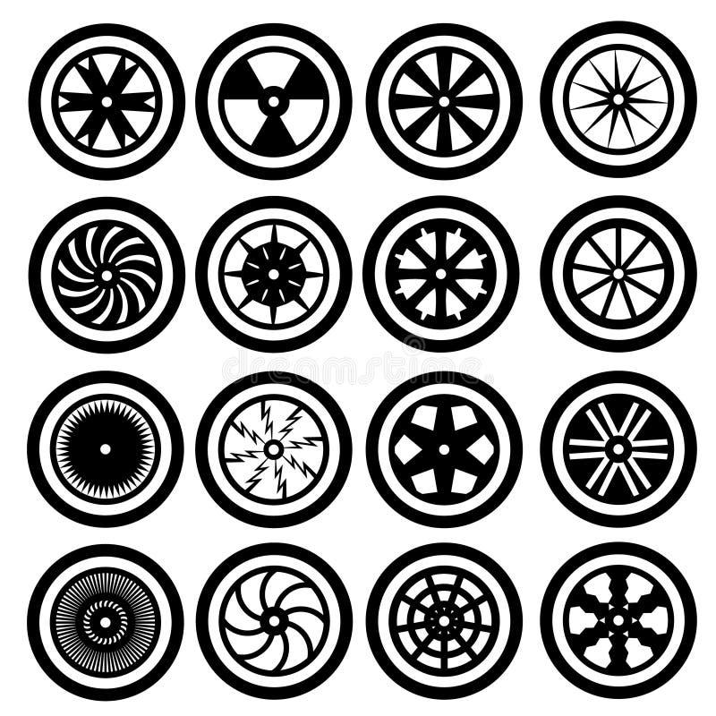 Iconos de la rueda de coche fotos de archivo