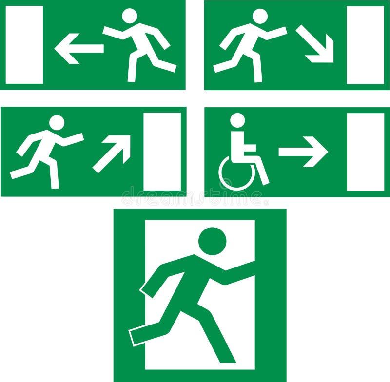 Iconos de la salida de emergencia stock de ilustración