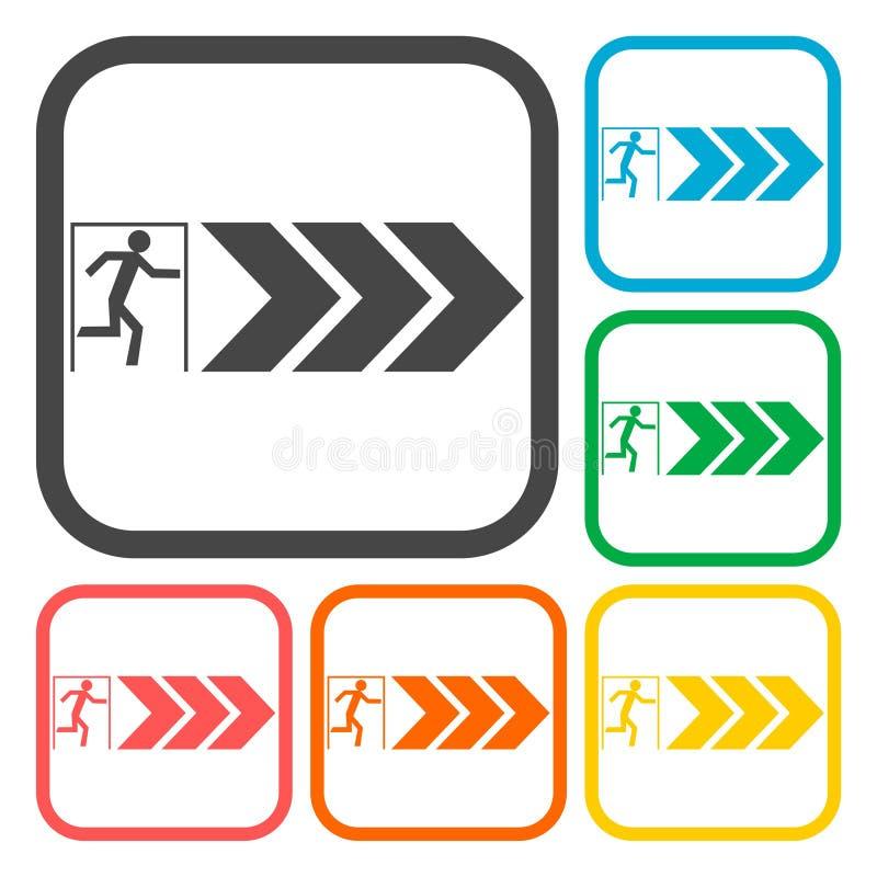 Iconos de la salida de emergencia fijados stock de ilustración