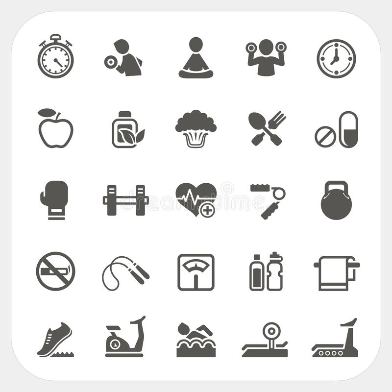 Iconos de la salud y de la aptitud fijados ilustración del vector