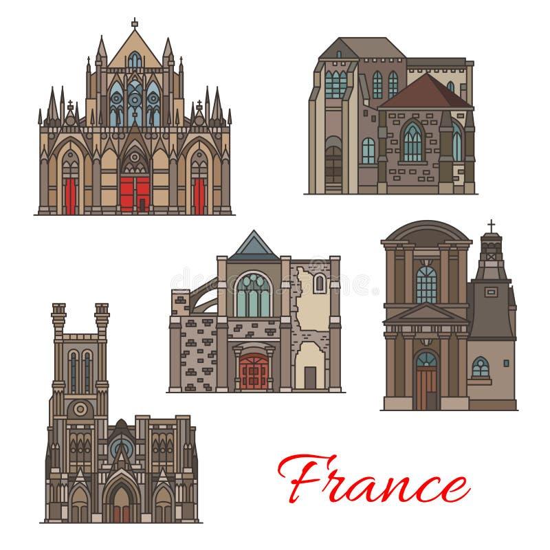 Iconos de la señal del viaje del francés, arquitectura de Troyes stock de ilustración