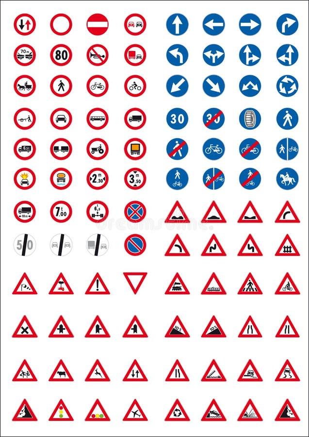 Iconos de la señal de tráfico stock de ilustración