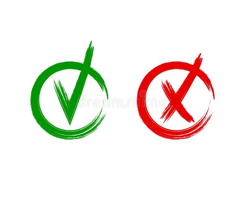 Iconos de la señal y de la cruz del vector, muestras de las líneas dibujos a pulso, verde del garabato del Grunge y rojo coloread ilustración del vector