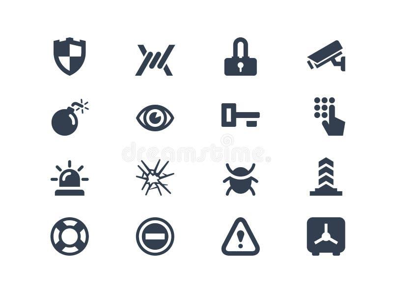 Iconos de la seguridad ilustración del vector
