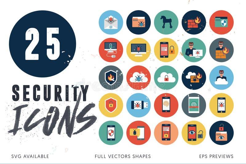 25 iconos de la seguridad stock de ilustración