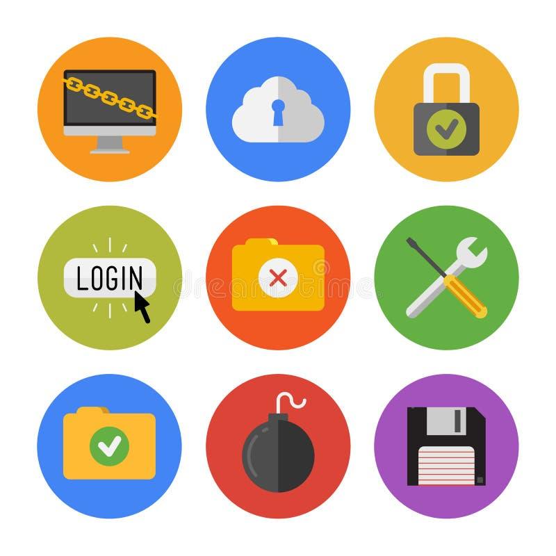 Iconos de la seguridad de Internet fijados stock de ilustración