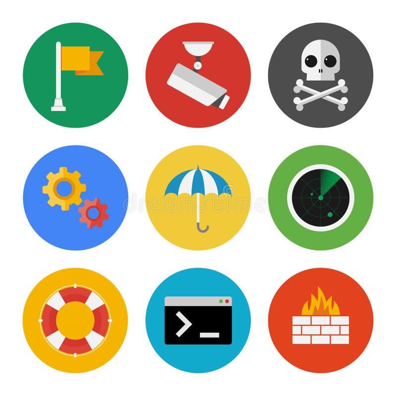Iconos de la seguridad de Internet fijados ilustración del vector
