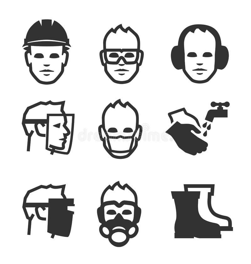 Iconos de la seguridad de trabajo stock de ilustración