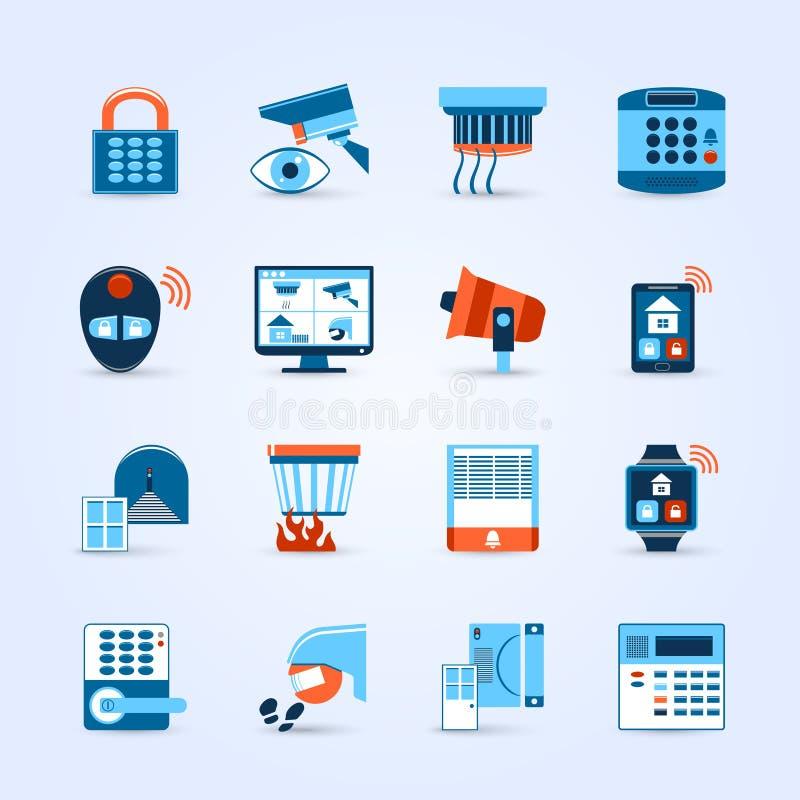Iconos de la seguridad en el hogar fijados libre illustration