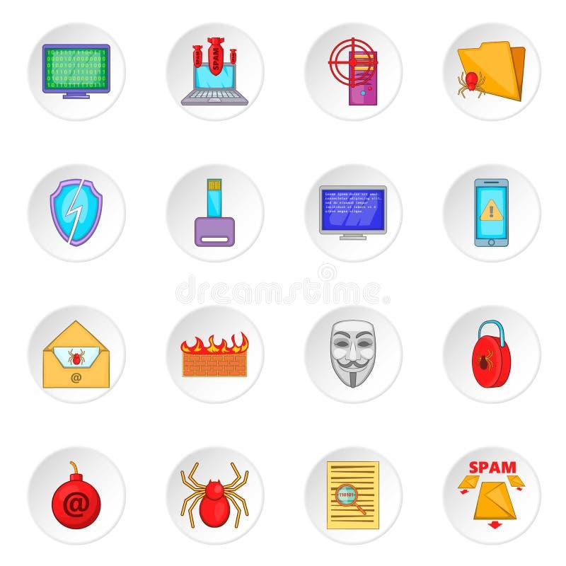 Iconos de la seguridad informática fijados ilustración del vector
