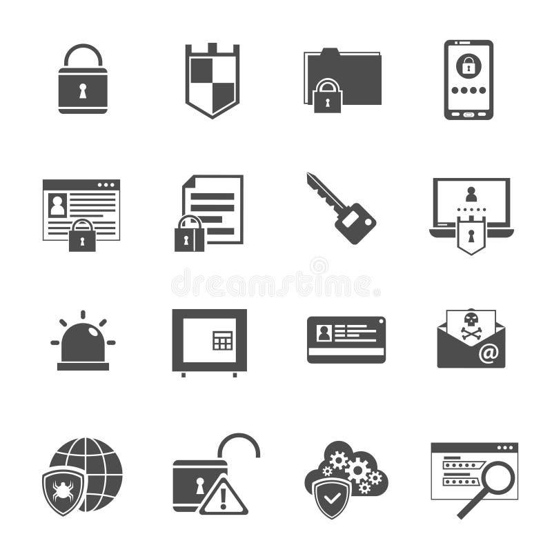 Iconos de la seguridad informática fijados negros ilustración del vector