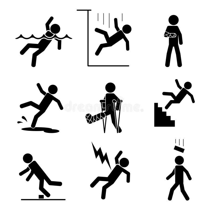 Iconos de la seguridad y del accidente libre illustration