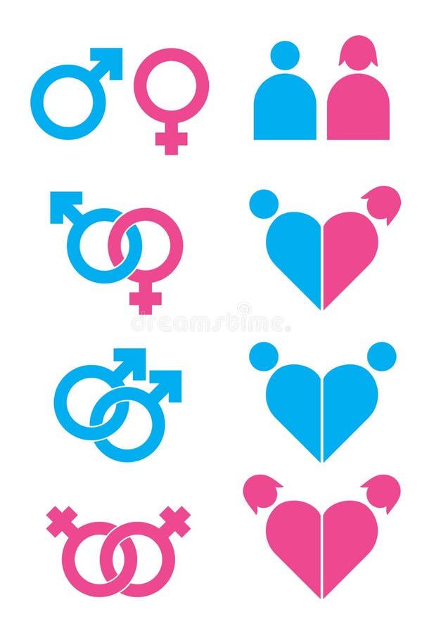 Iconos de la sexualidad fijados stock de ilustración