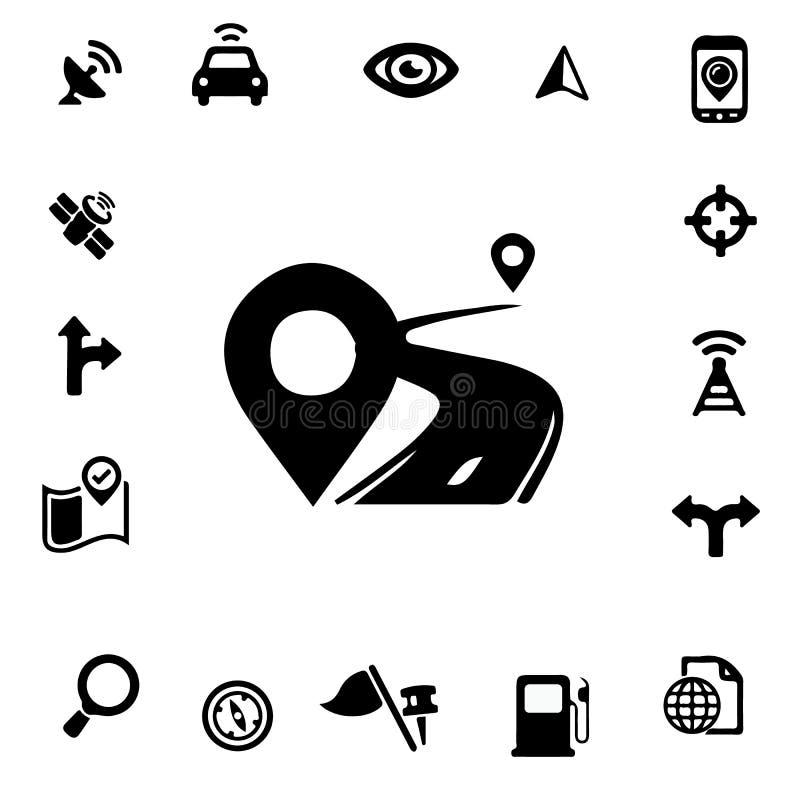 Iconos de la silueta de GPS foto de archivo