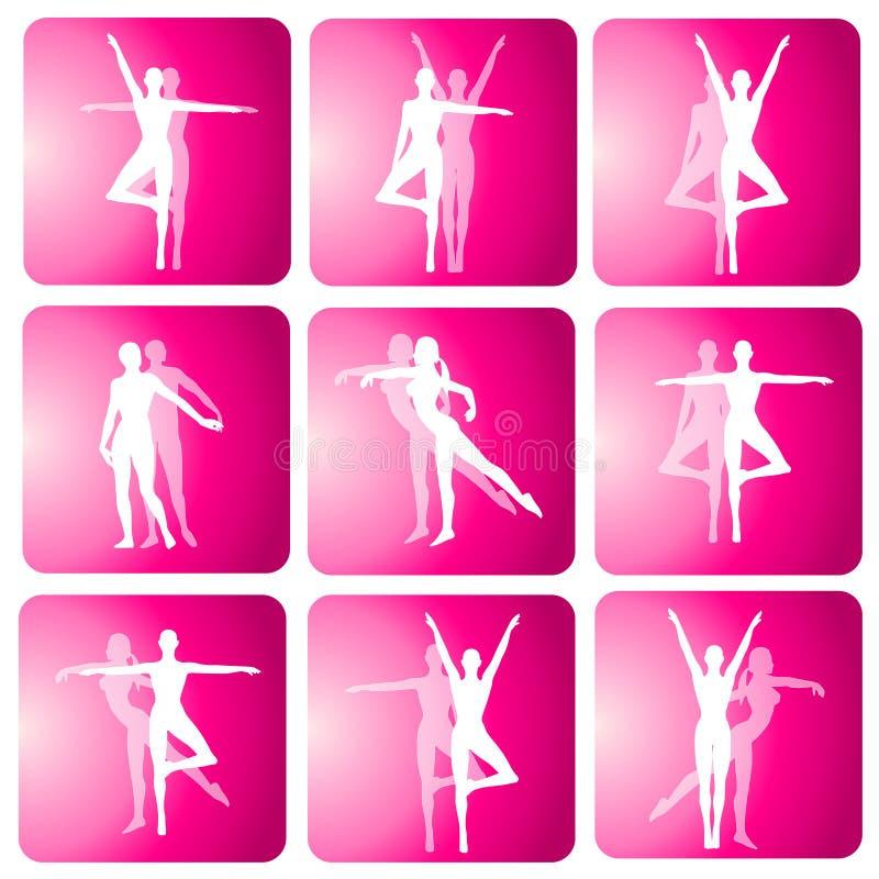 Iconos de la silueta de la danza de la yoga de la aptitud libre illustration