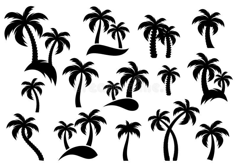 Iconos de la silueta de la palmera stock de ilustración