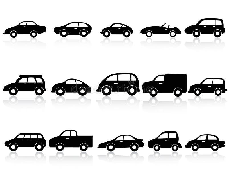 Iconos de la silueta del coche stock de ilustración