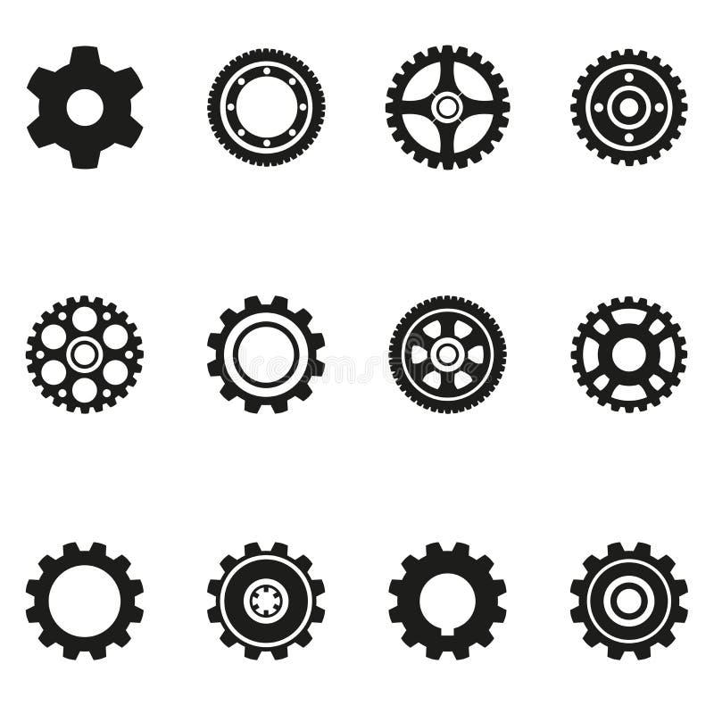 Iconos de la silueta del engranaje ilustración del vector