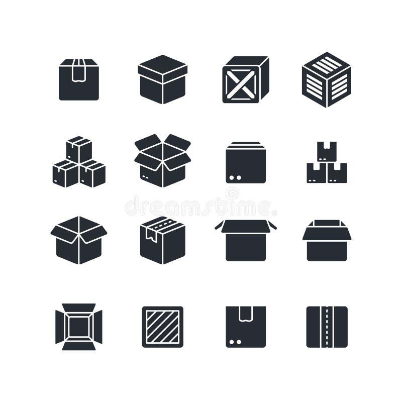 Iconos de la silueta del negro de la caja abierta y cerrada aislados Símbolos del vector del paquete ilustración del vector