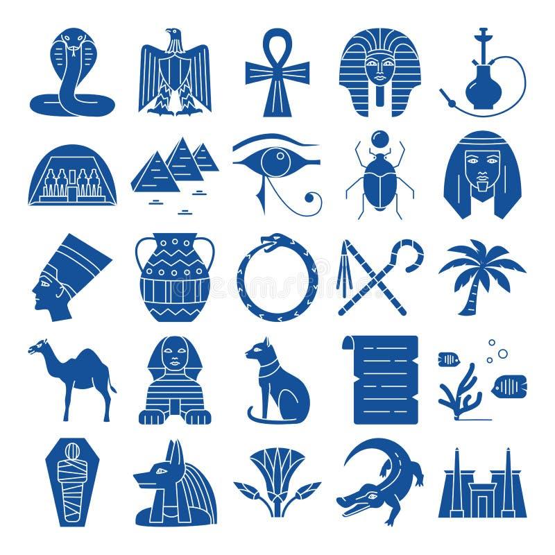 Iconos de la silueta de Egipto fijados en estilo plano libre illustration