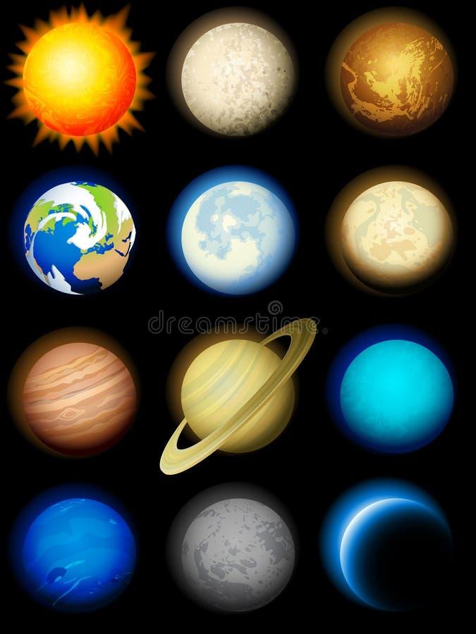 Iconos de la Sistema Solar ilustración del vector