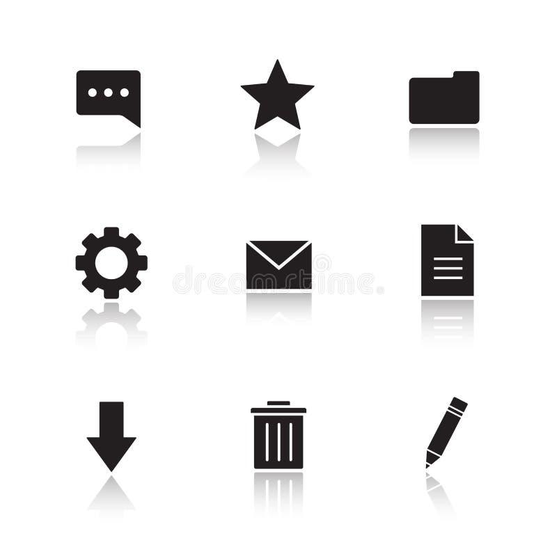 Iconos de la sombra del descenso del encargado del fichero fijados libre illustration