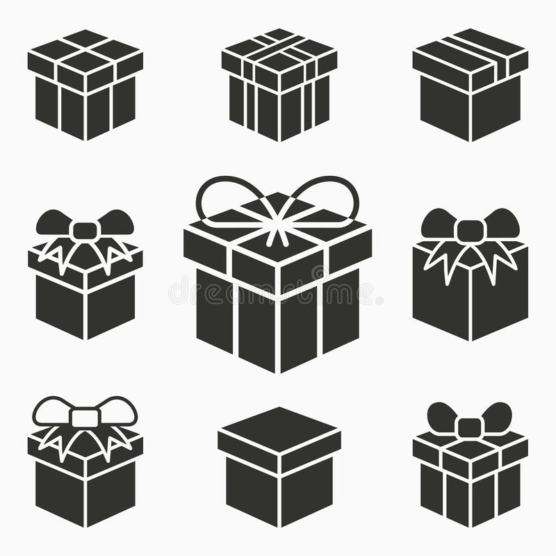 Iconos de la sorpresa de la caja de regalo Sistema del presente, paquete, descuento, entrega, símbolos del cumpleaños Ejemplos de ilustración del vector