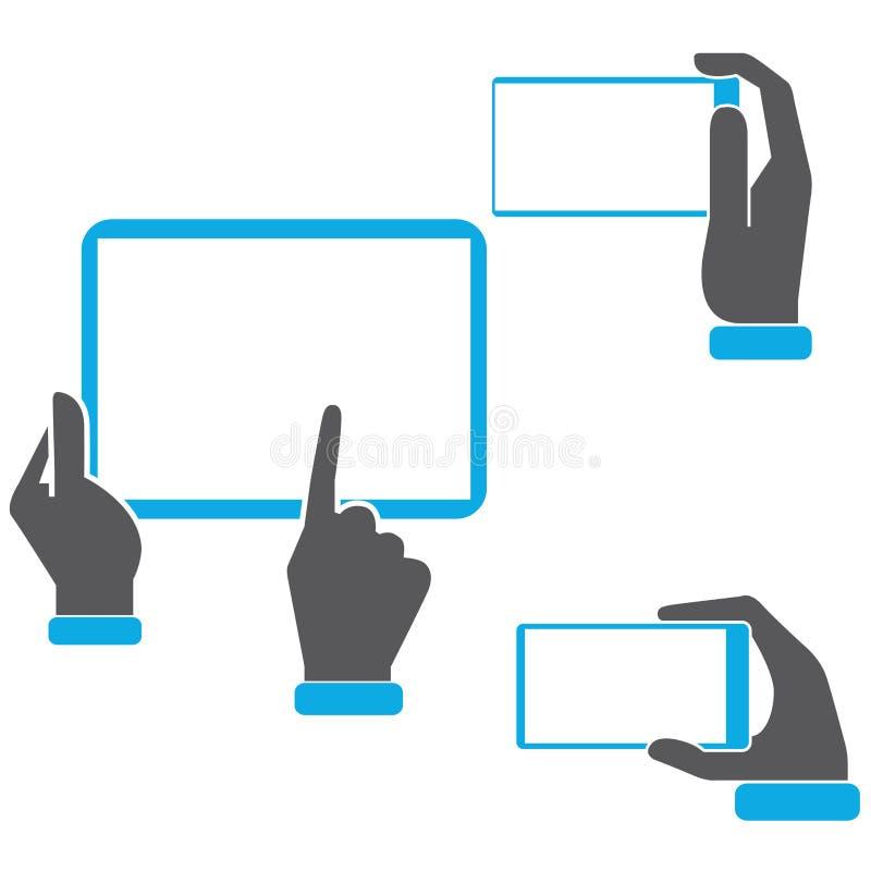 Iconos de la tableta de la tenencia de la mano ilustración del vector
