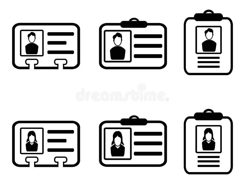 Iconos de la tarjeta de la identificación ilustración del vector