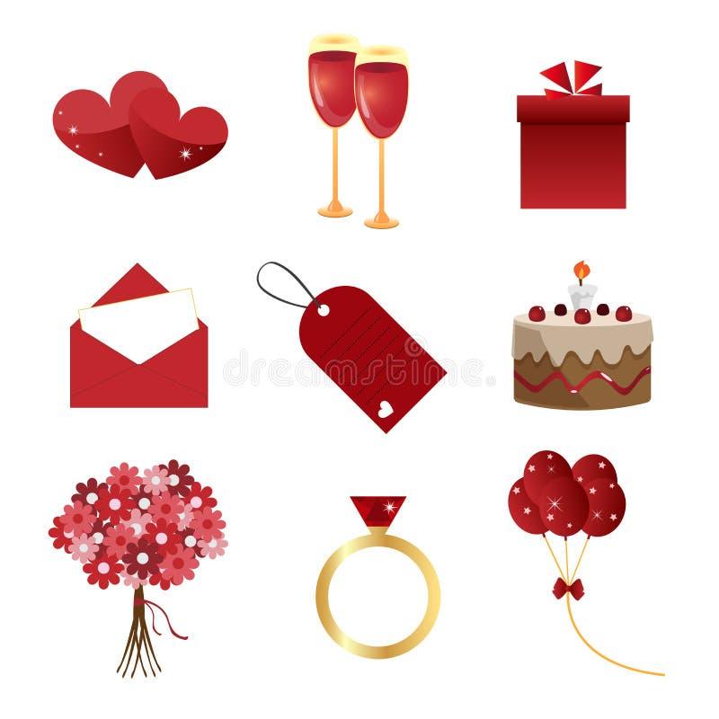 Iconos de la tarjeta del día de San Valentín stock de ilustración