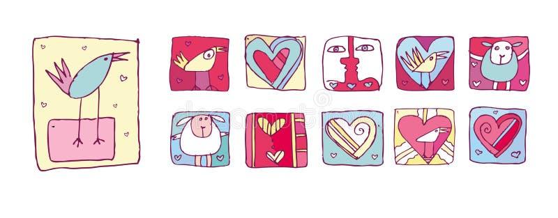 Iconos de la tarjeta del día de San Valentín fijados stock de ilustración