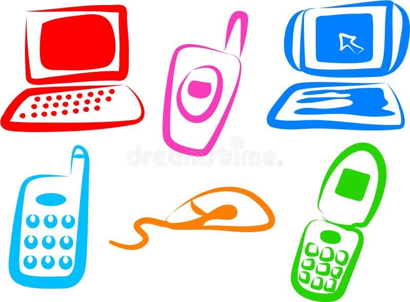 Iconos de la tecnología stock de ilustración