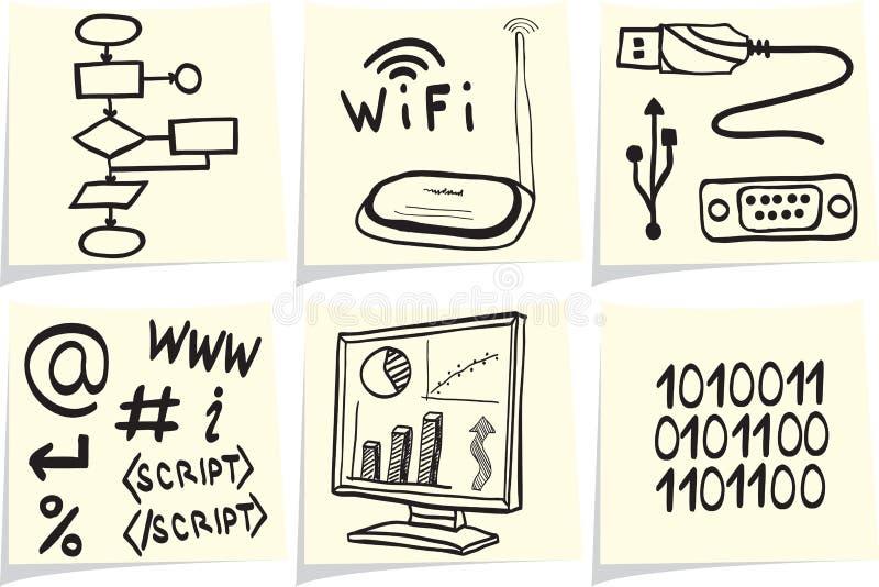 Iconos de la tecnología de la información en los palillos amarillos de la nota ilustración del vector