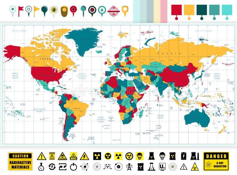 Iconos de la tecnología del mapa del mundo y de la energía atómica con la contaminación stock de ilustración