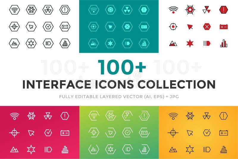 Iconos de la tecnología del vector UI del esquema fijados stock de ilustración