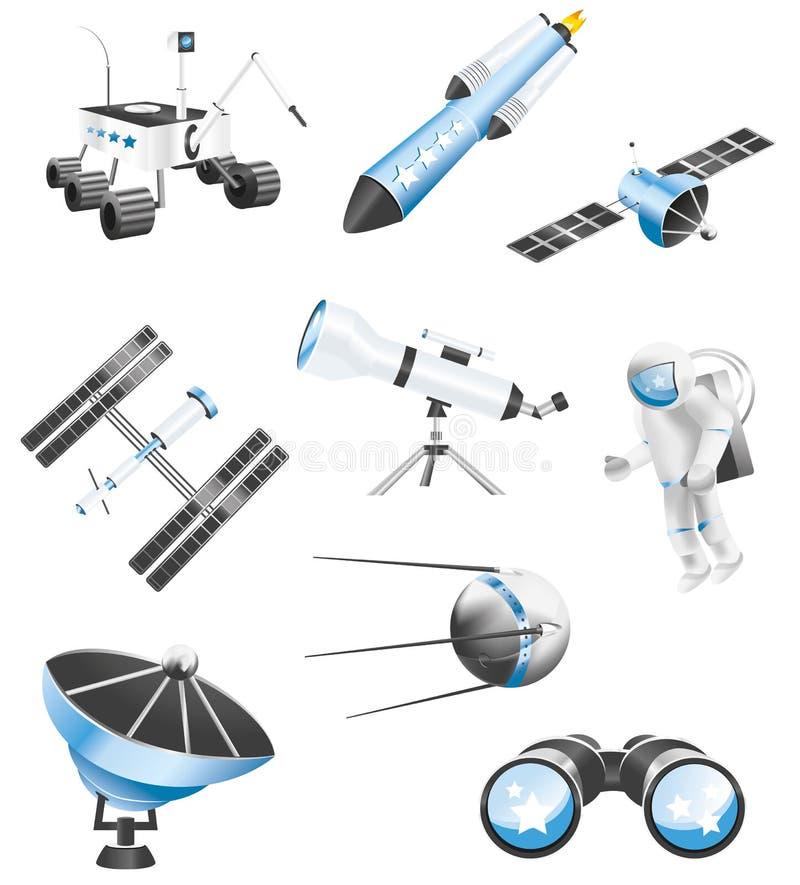 Iconos de la tecnología espacial stock de ilustración