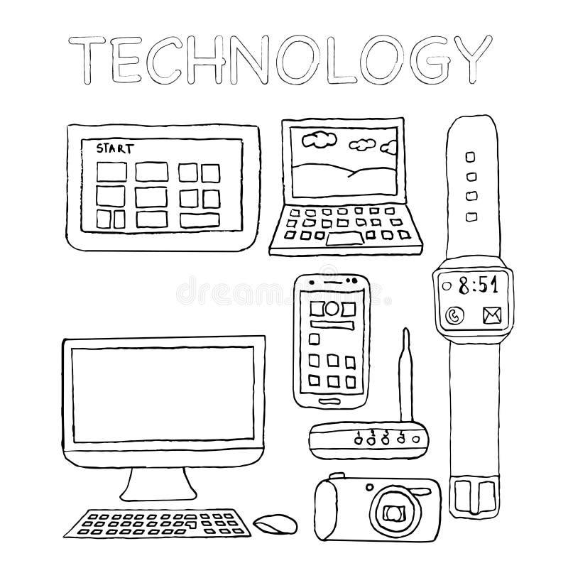Iconos de la tecnología, mano dibujada, cámara digital, router del wifi, lapto ilustración del vector