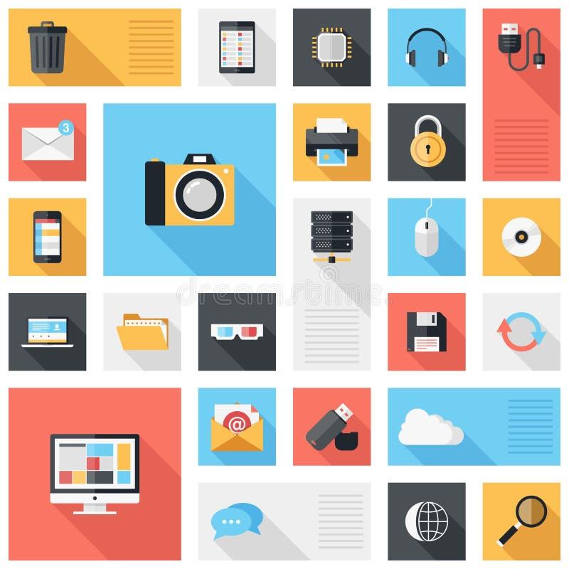 Iconos de la tecnología y de los medios stock de ilustración