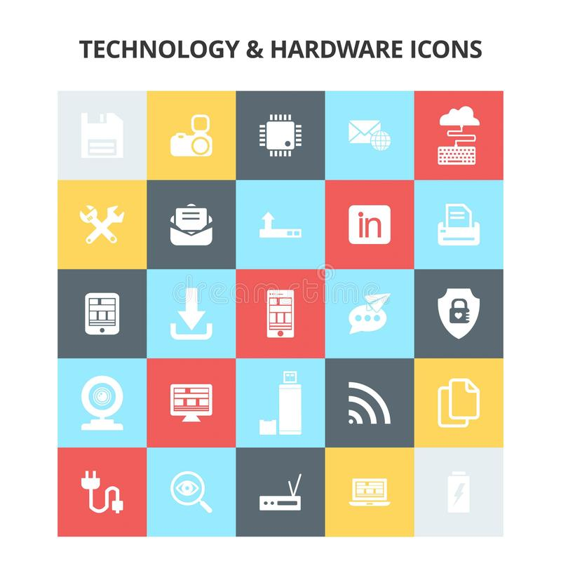 Iconos de la tecnología y del hardware stock de ilustración