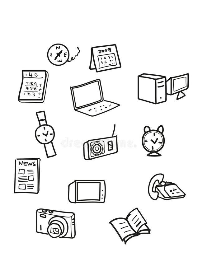 Iconos de la tecnología y de la oficina ilustración del vector