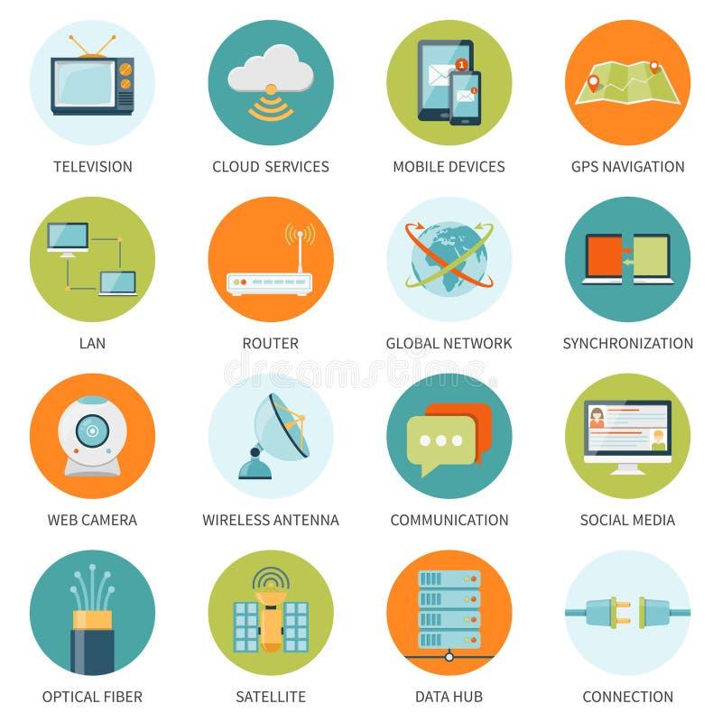 Iconos de la telecomunicación en círculos coloreados libre illustration