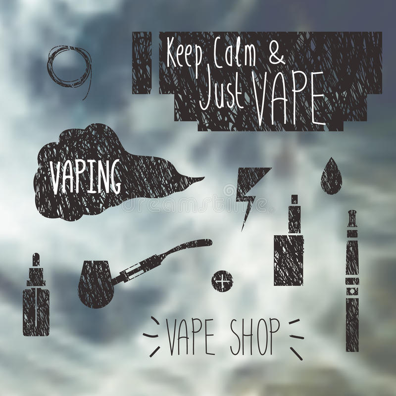 Iconos de la tienda de Vape fijados ilustración del vector