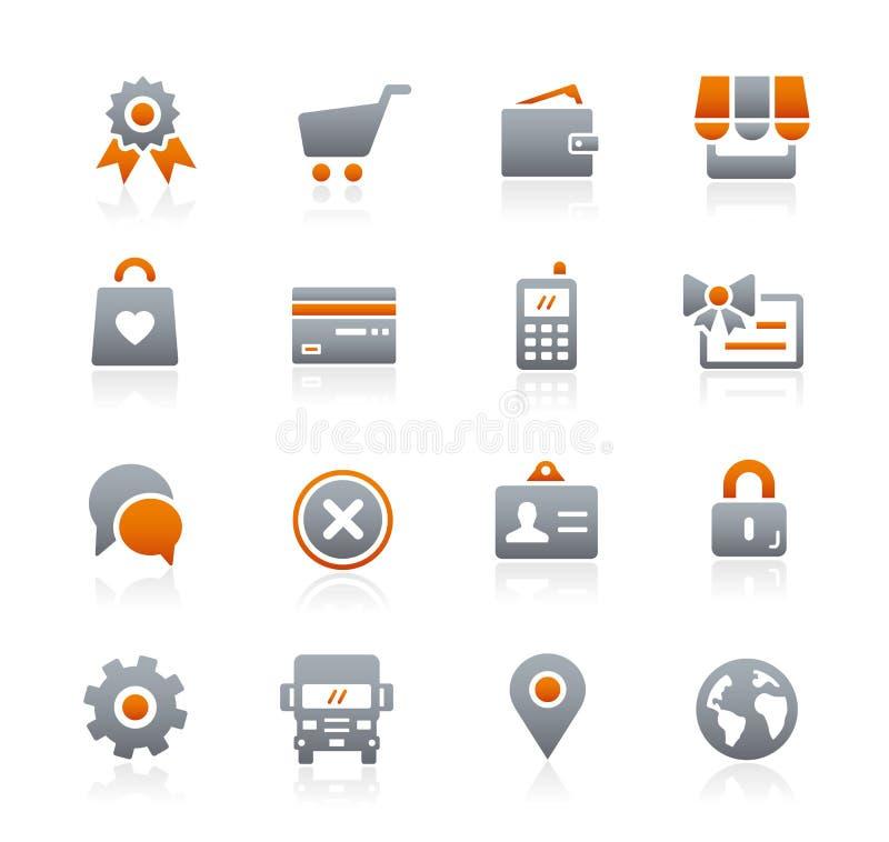 Iconos de la tienda en línea -- Serie del grafito stock de ilustración