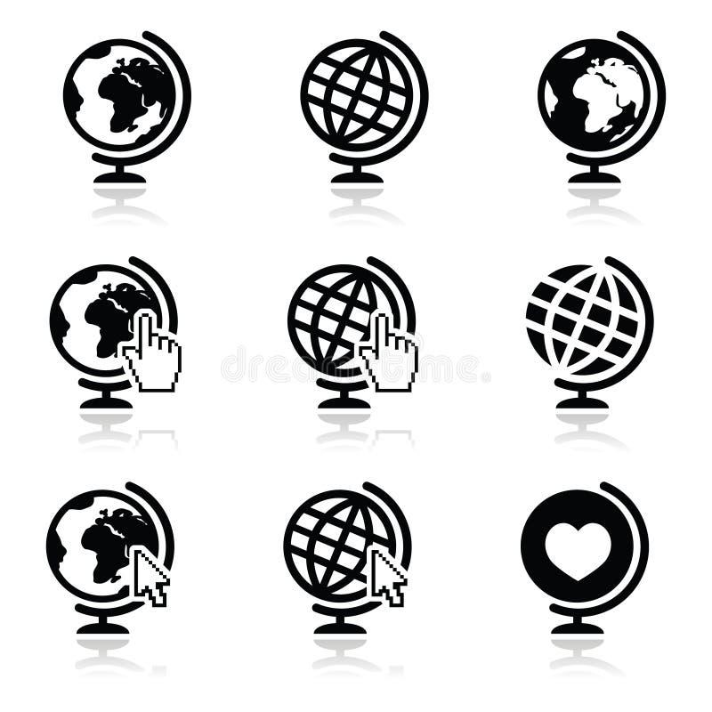 Iconos de la tierra del globo con la mano y la flecha del cursor ilustración del vector