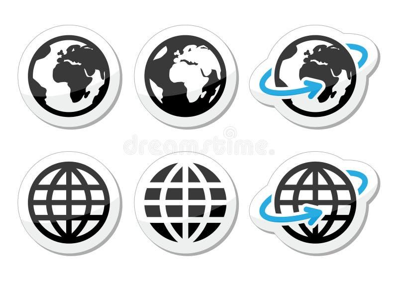 Iconos de la tierra del globo fijados con la reflexión libre illustration