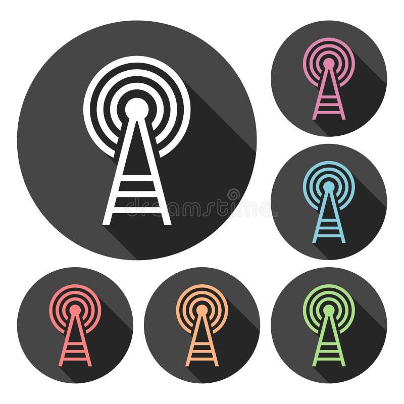 Iconos de la torre del transmisor fijados con la sombra larga ilustración del vector
